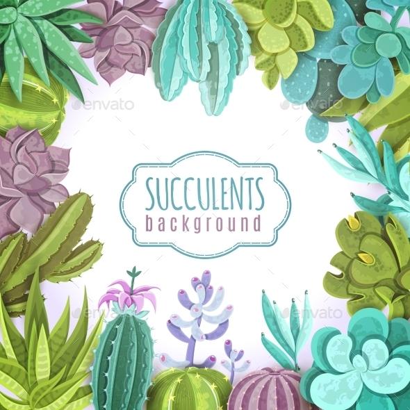 Succulents Background Illustration  - Flowers & Plants Nature