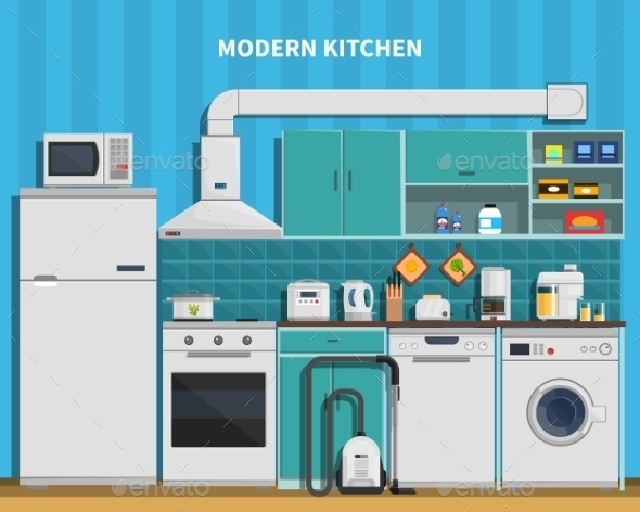 Modern Kitchen Background  - Man-made Objects Objects
