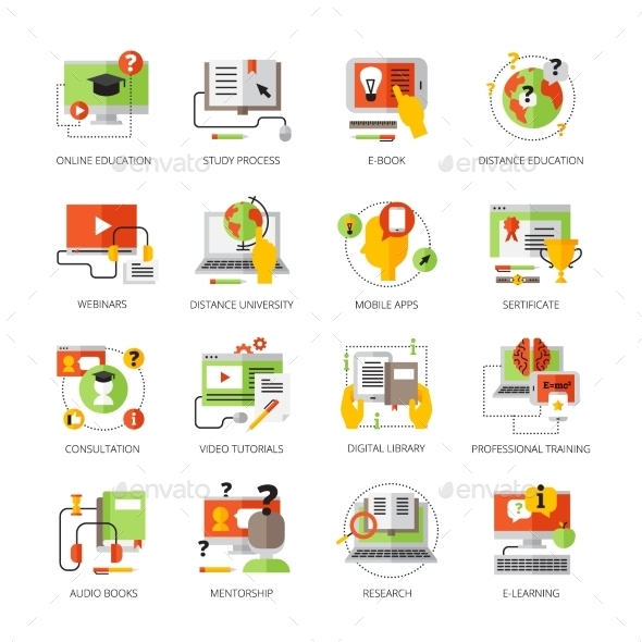 Online Education Flat Color Pictograms Set - Media Icons