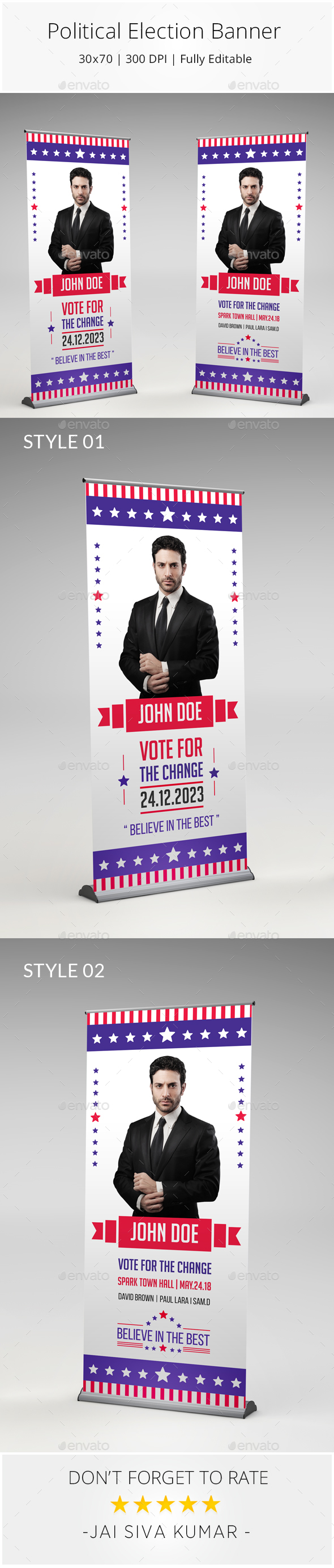 Political Election Roll up Banner - Signage Print Templates
