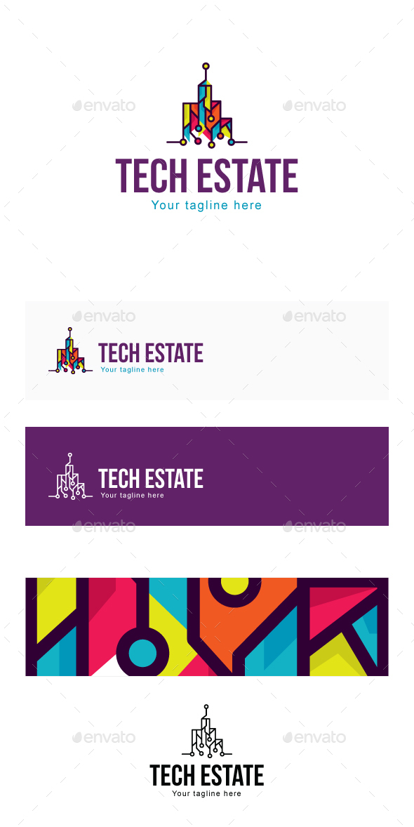 Tech Estate -  High Profile Property Projects Real Estate Stock Logo Template for Engineering & Buil - Buildings Logo Templates