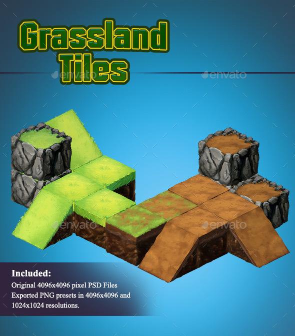 Grassland - Isometric 2D Tiles - Tilesets Game Assets