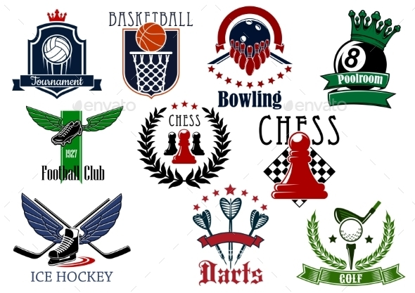 Sports Game Heraldic Emblems with Items - Sports/Activity Conceptual