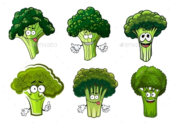 Green Broccoli Vegetables Cartoon Characters - Food Objects