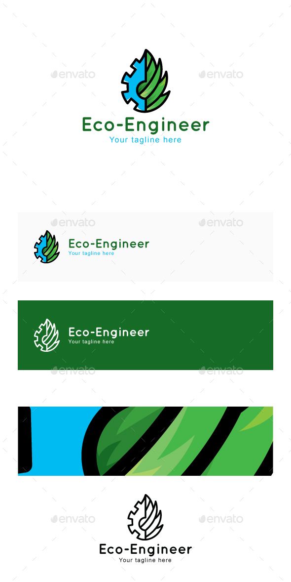 Eco Engineer - Environment Friendly Manufacturing Industry Stock Logo Template for Green Tools & Mac - Nature Logo Templates