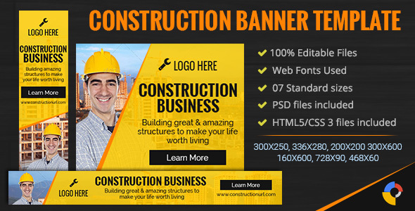 GWD | Construction Ad Banners - 7 Sizes - CodeCanyon Item for Sale