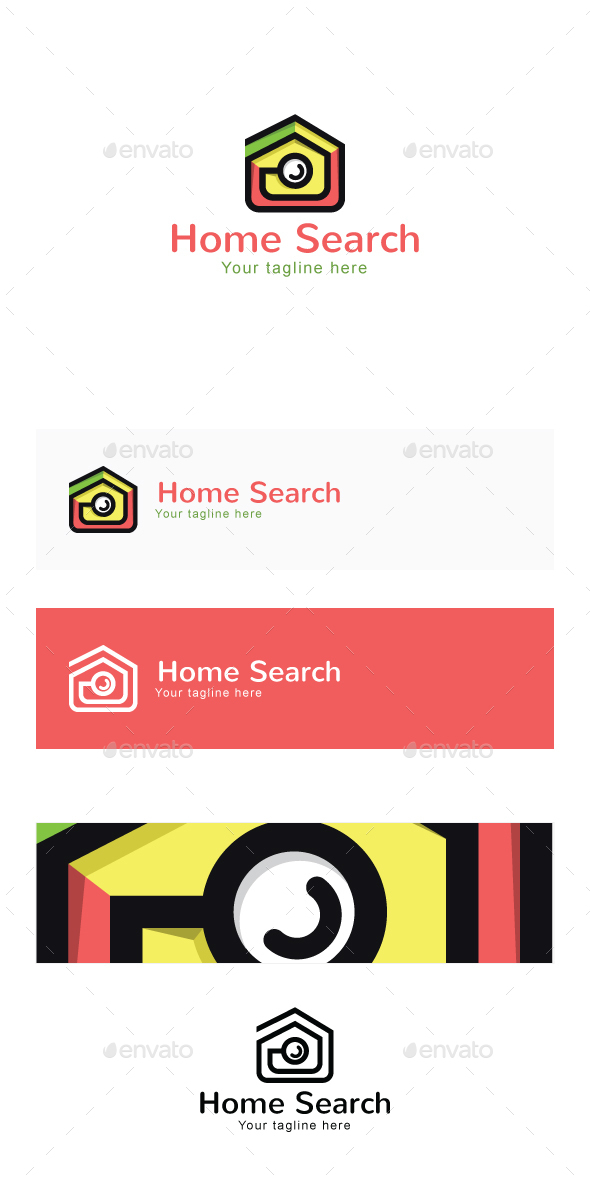 Home Search -Real Estate Stock Logo Template for Residential Properties - Buildings Logo Templates