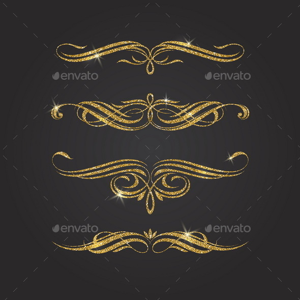 Glitter Gold Flourishes Design Elements - Flourishes / Swirls Decorative