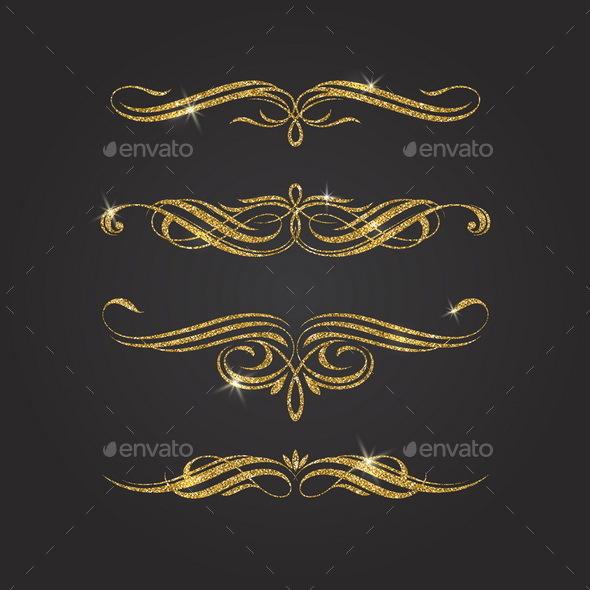 Glitter Gold Flourishes Design Elements - Flourishes / Swirls Decorative