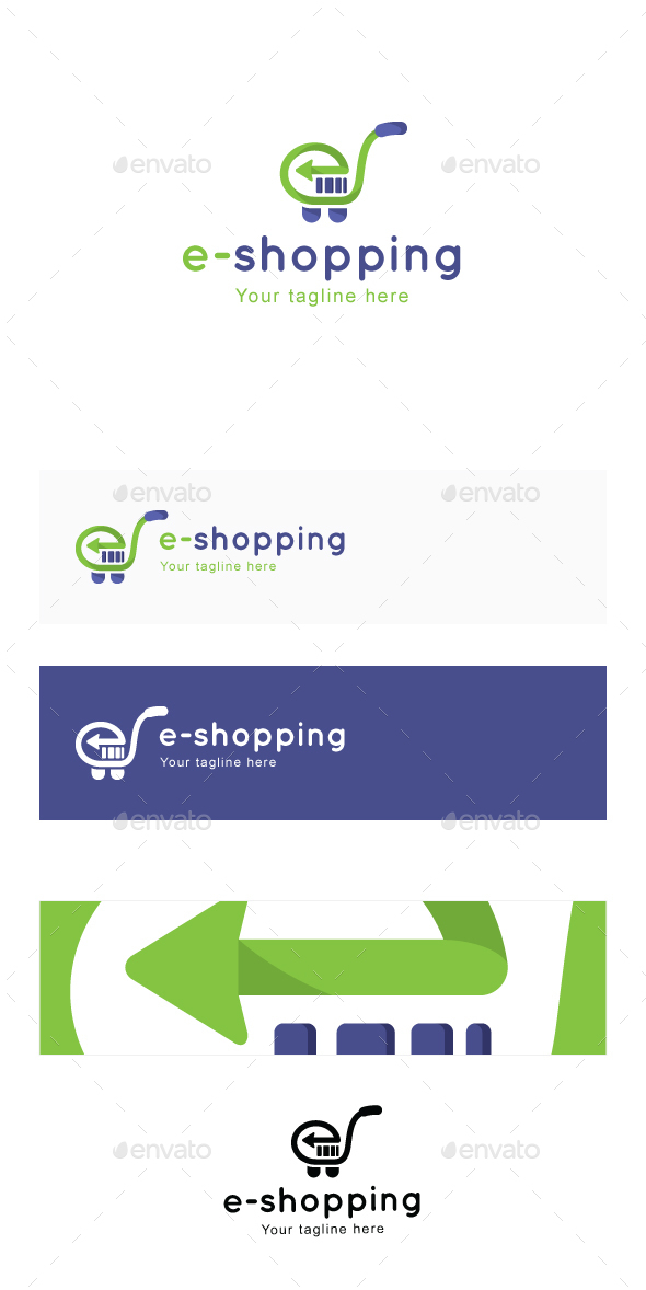 E-Shopping - Trolley Cart & Bar Code Alphabetic Iconic Stock Logo Template for E-Commerce - Symbols Logo Templates