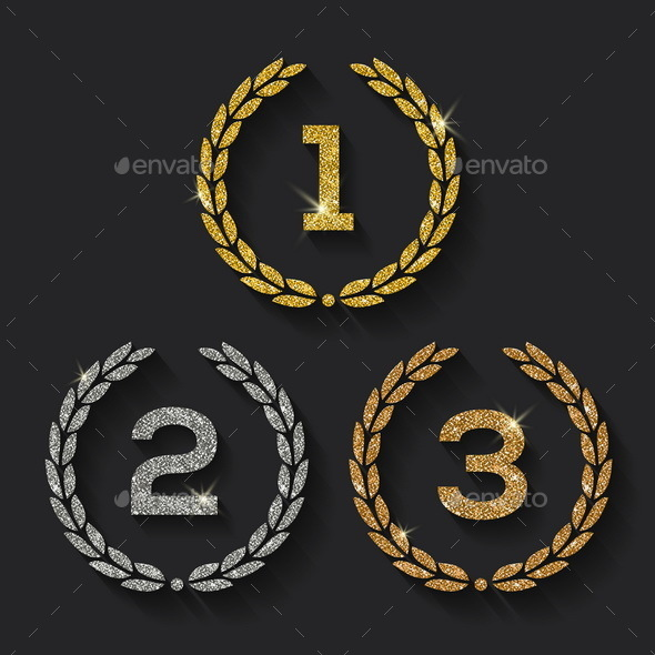 Awards Glitter Golden Emblems - Decorative Symbols Decorative