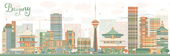 Abstract Beijing Skyline with Color Buildings - Buildings Objects