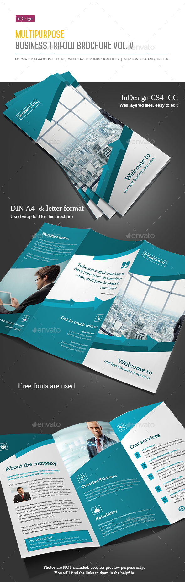Business Trifold Brochure Vol. V - Informational Brochures