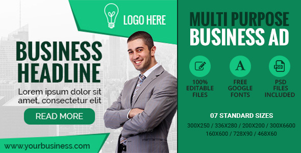 GWD | Multipurpose Business Banner - 7 Sizes - CodeCanyon Item for Sale