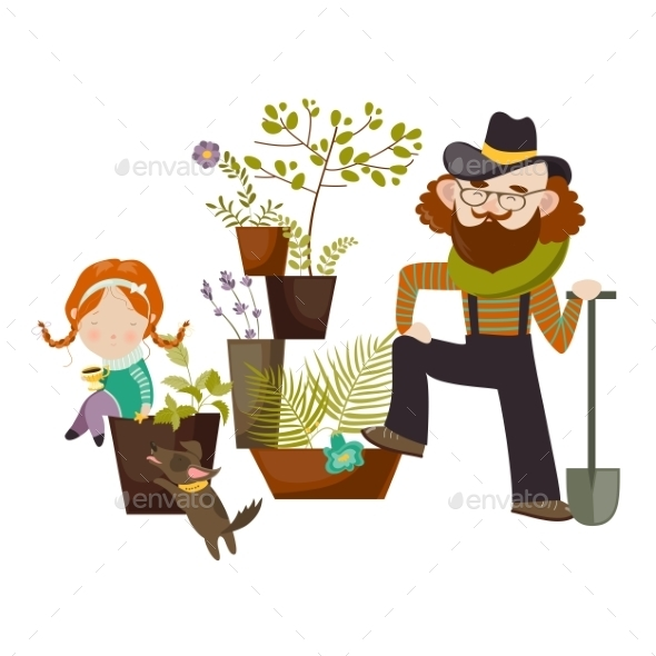 Father And Daughter Planting In The Garden - Flowers & Plants Nature