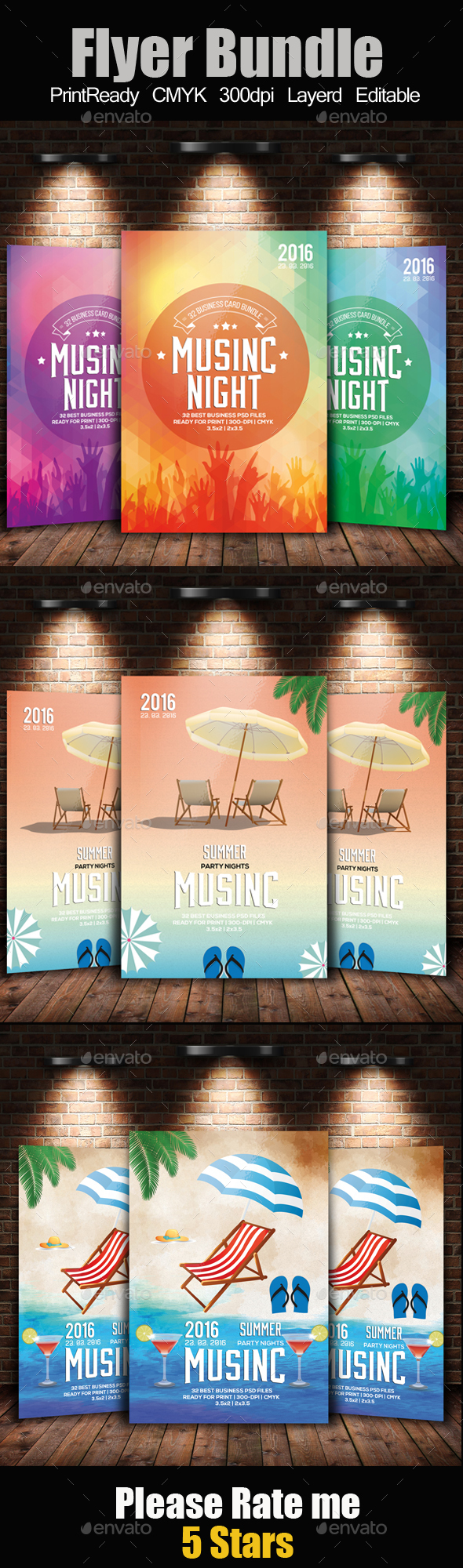 Electro Summer Flyer Template Bundle - Clubs & Parties Events