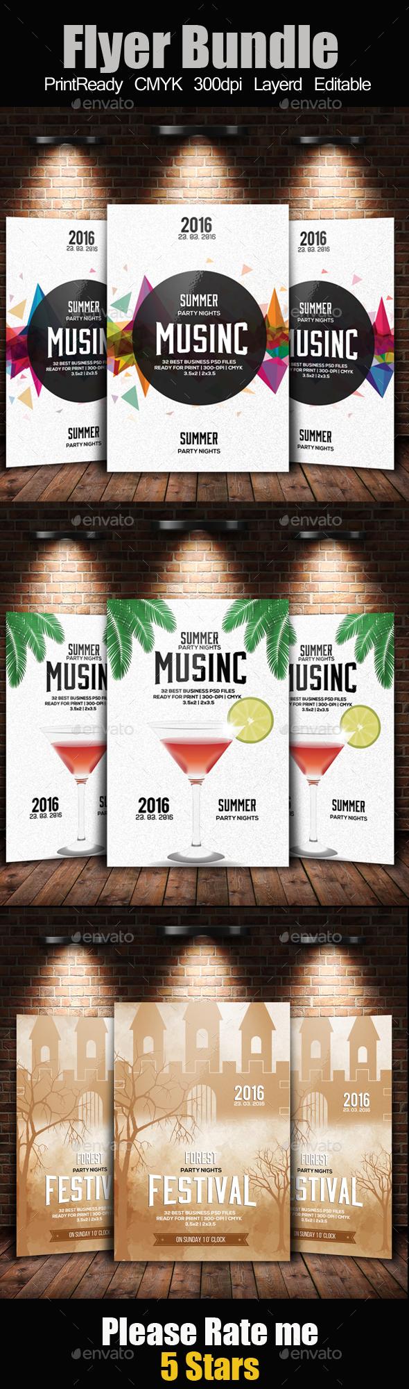 Summer Fest Flyer Templates Bundle - Clubs & Parties Events