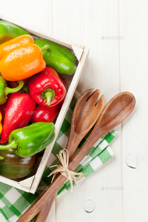 Fresh colorful bell pepper box - Stock Photo - Images