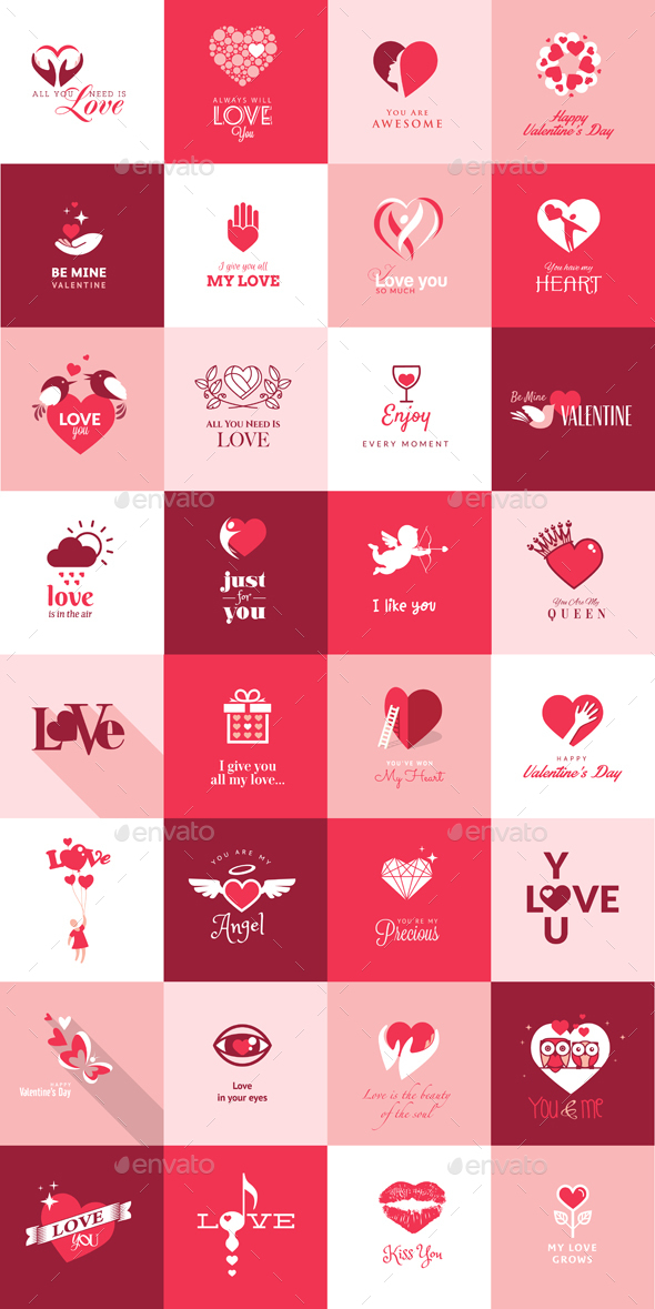 Set of Flat Design Love Icons - Icons