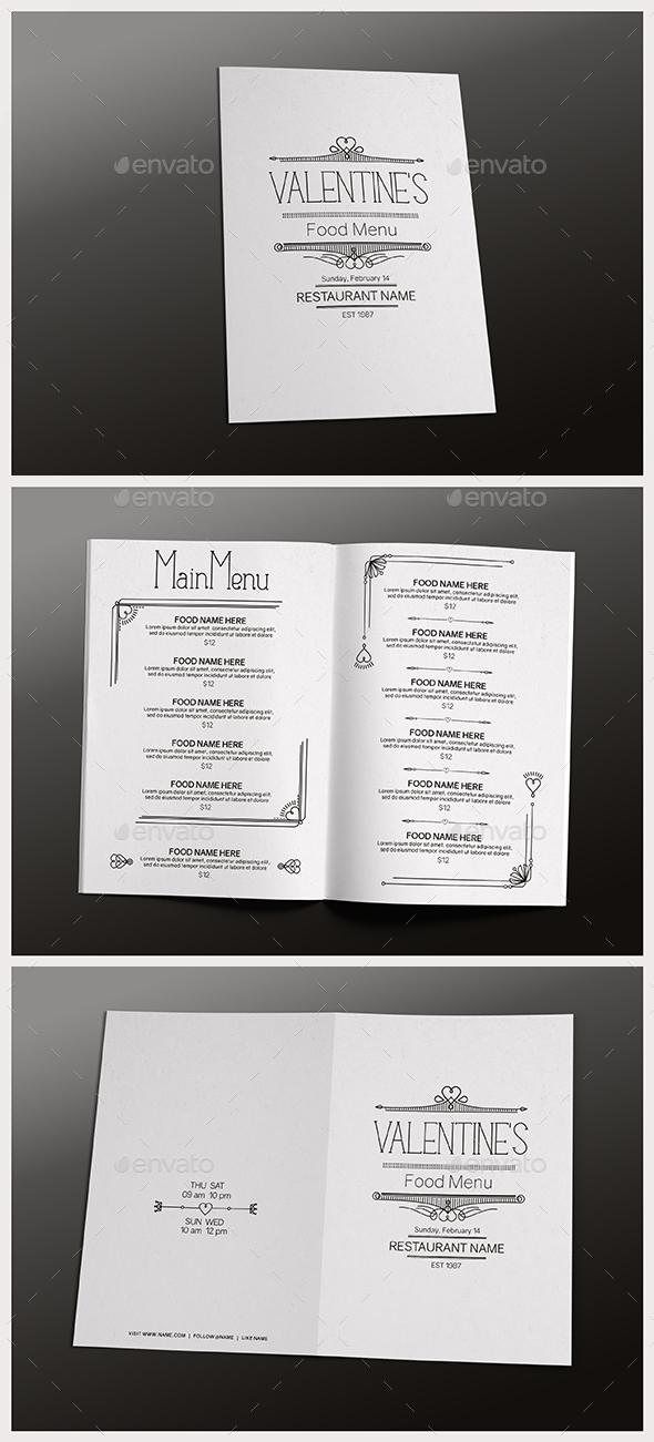 Valentine's Day Food Menu - Food Menus Print Templates