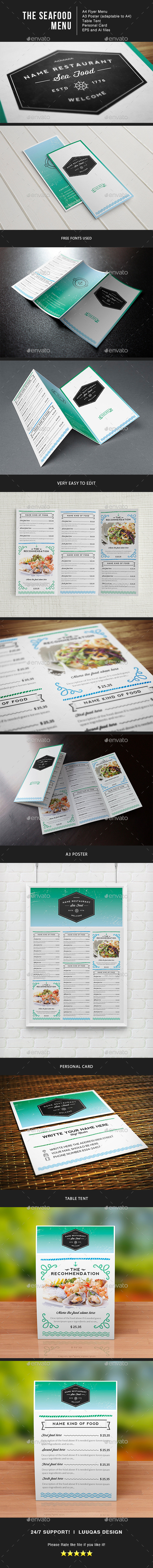 Sea Food Menu Identity Illustrator Template - Food Menus Print Templates