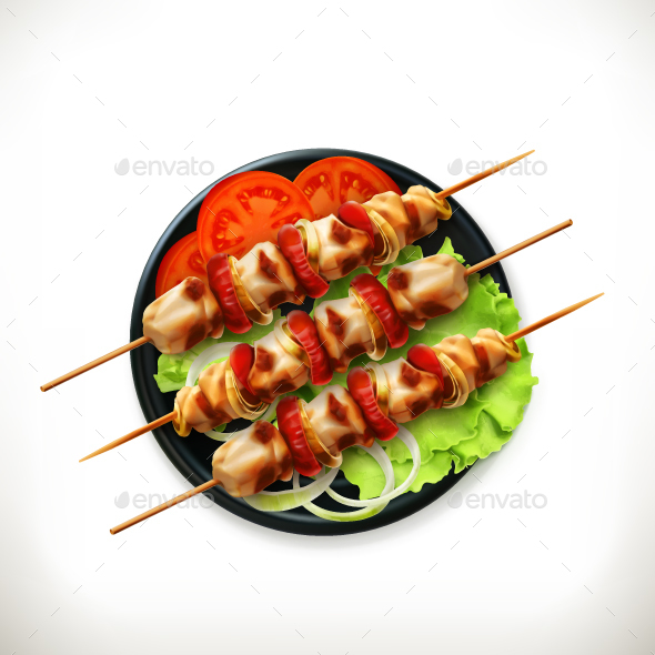 Shish Kebab on a Plate - Food Objects