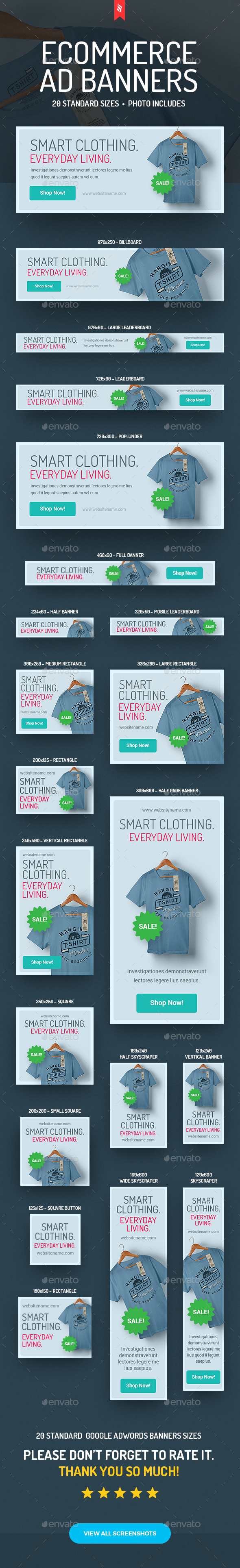 Clothes Shop - eCommerce Ad Banners - Banners & Ads Web Elements