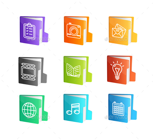 File Folder Colorful Icon Set - Computers Technology