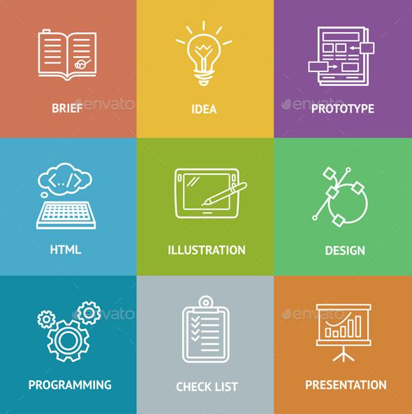 Web Dewelopment  Colorful Icon Set - Web Technology