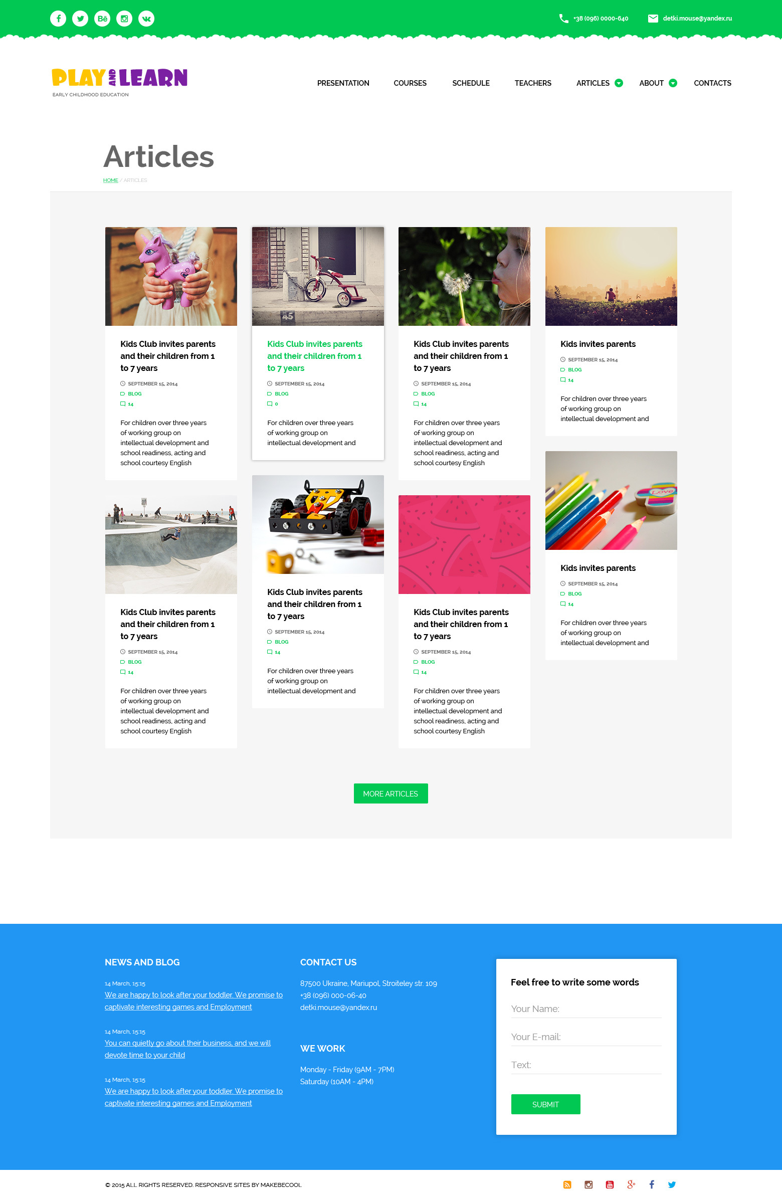 Themkids Material Design Template