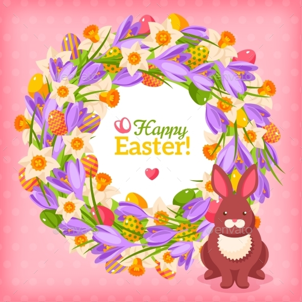 Easter Eggs and Flowers Wreath - Miscellaneous Seasons/Holidays
