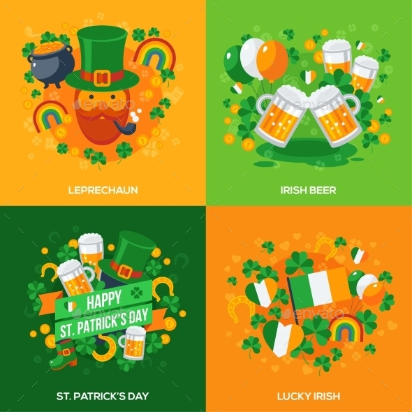 Set of Patricks Day Flat Icons Concept - Miscellaneous Seasons/Holidays