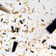 Confetti Falling on White Wall and Fading Black - VideoHive Item for Sale