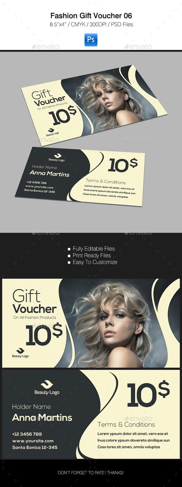 Fashion Gift Voucher 06 - Cards & Invites Print Templates