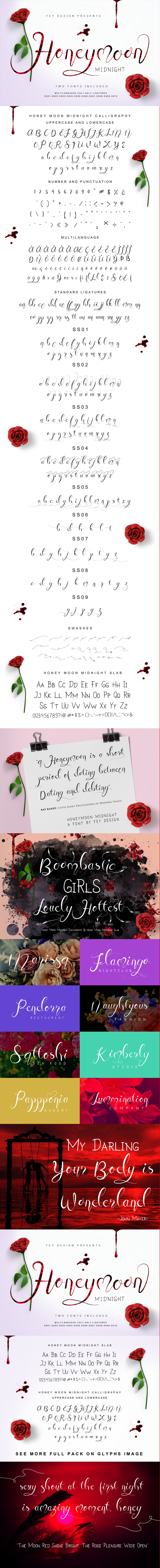 Honey Moon Midnight Two Fonts - Calligraphy Script