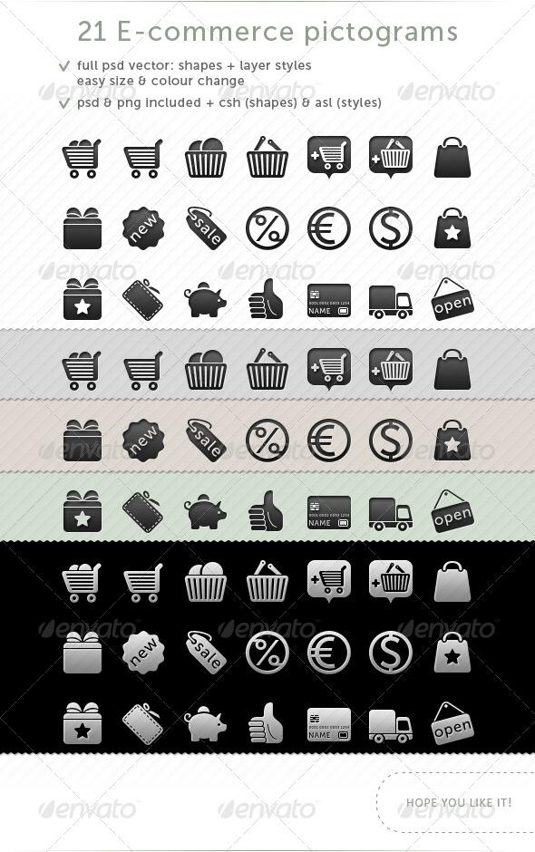 21 e-commerce Pictograms - Web Icons