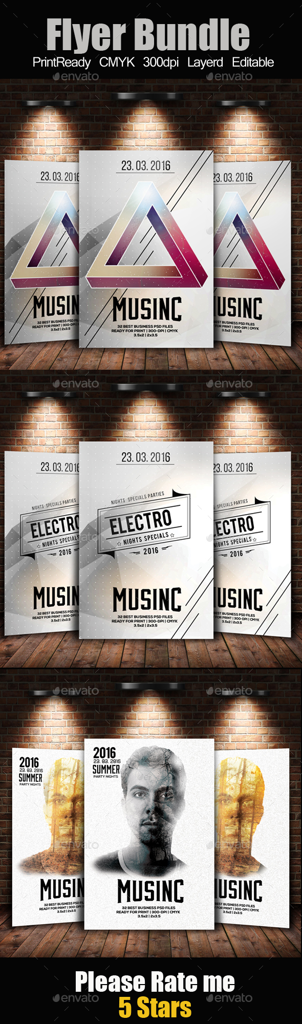 Electro Music Flyer Templates Bundle - Clubs & Parties Events