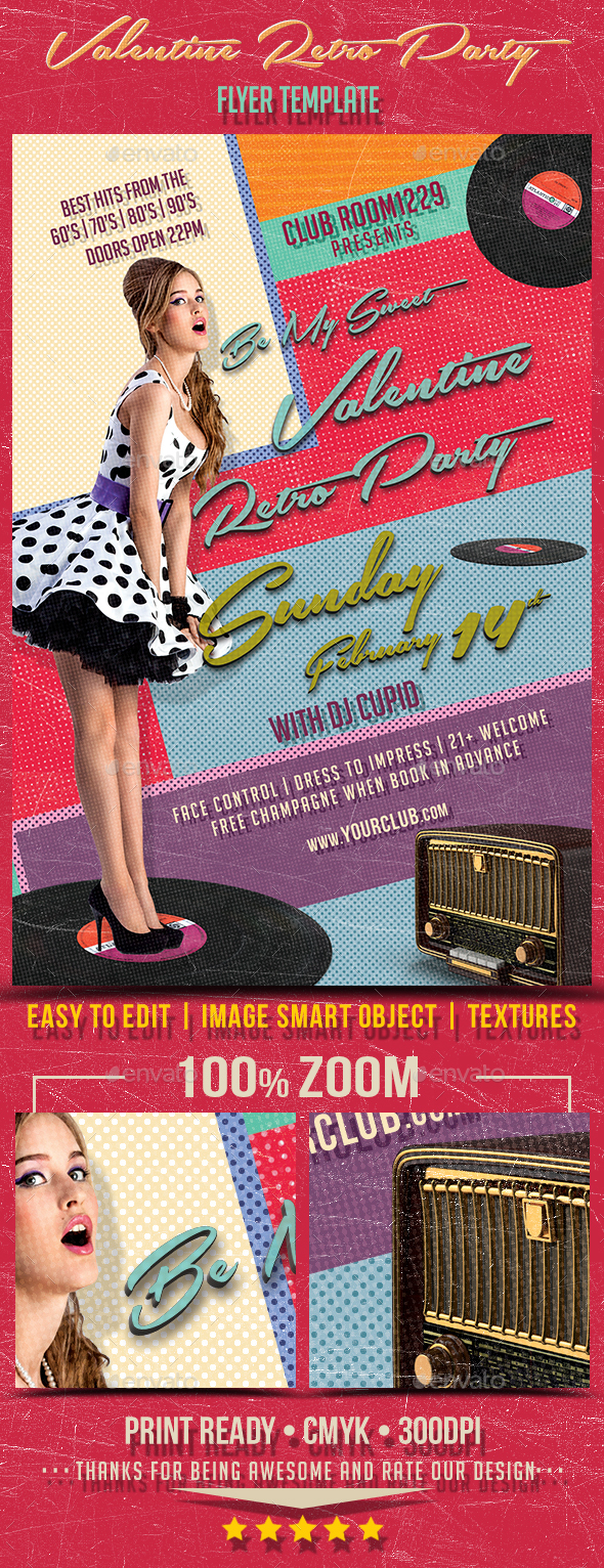 Valentine Day Retro Party Flyer Template - Clubs & Parties Events