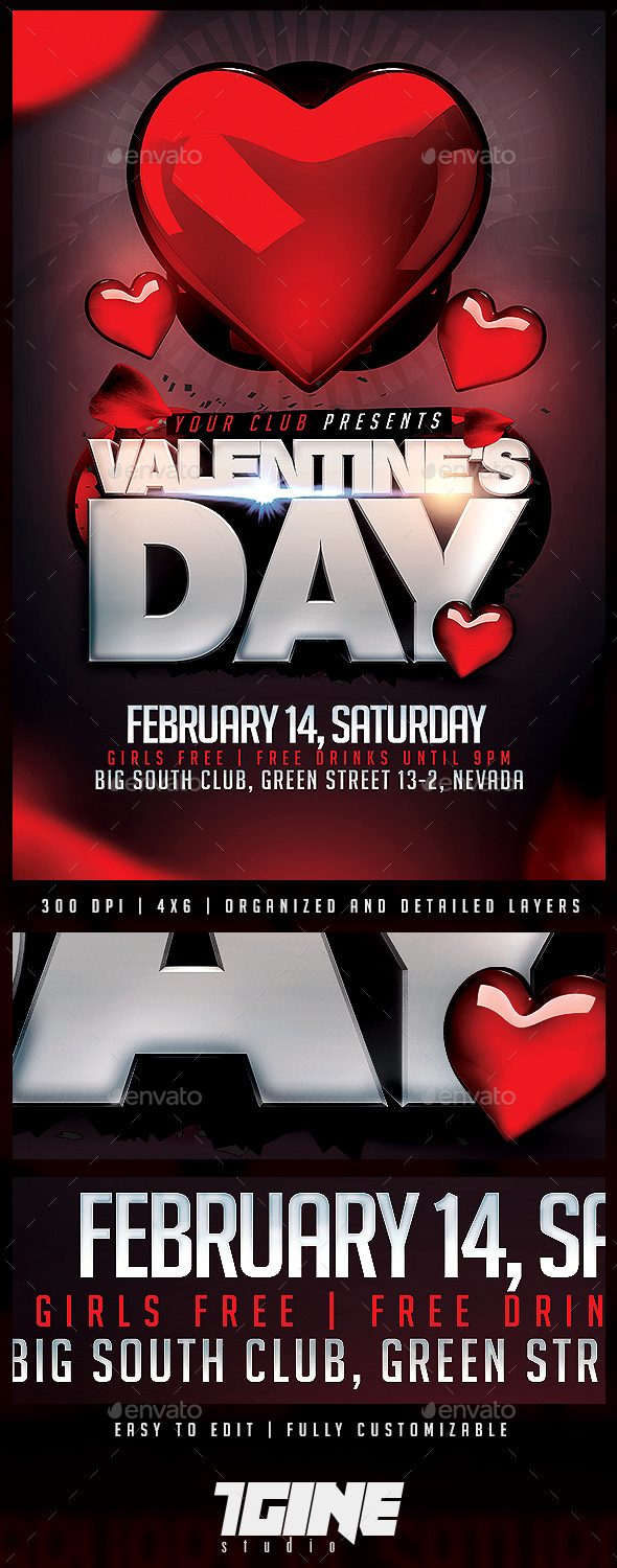 Valentine's Day Party Flyer Template - Holidays Events