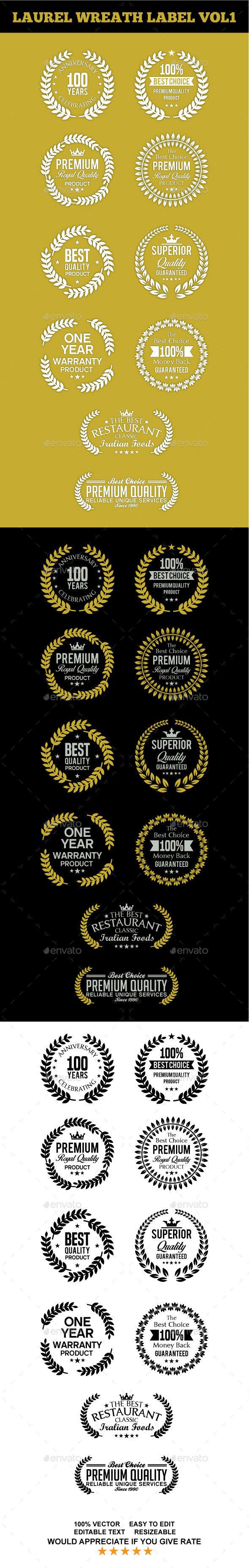Laurel Wreath Label Vol 1 - Badges & Stickers Web Elements