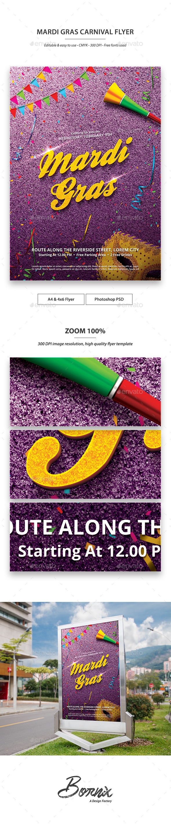 Mardi Gras Carnival Flyer Template - Events Flyers