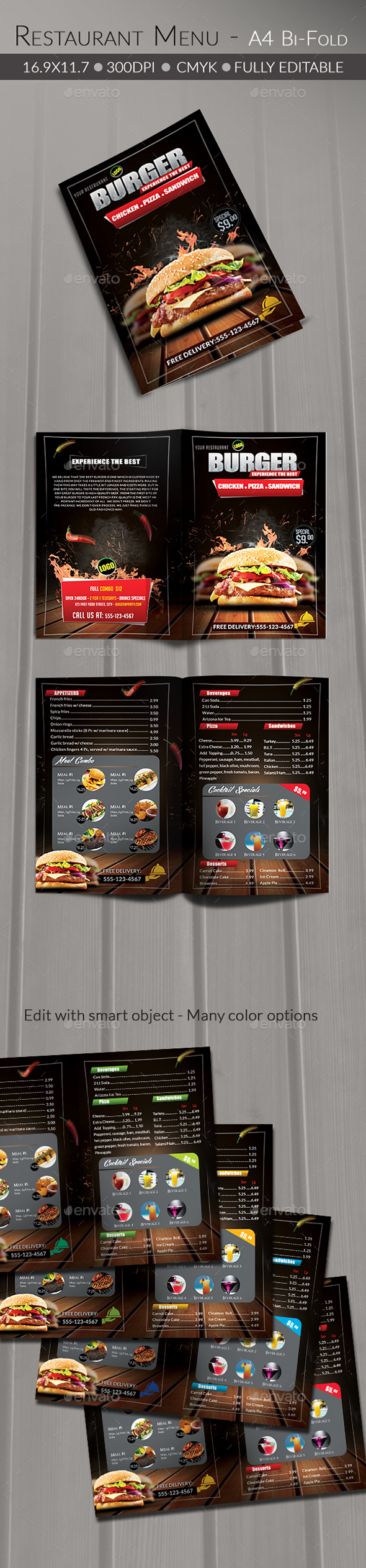 Food/ Burger Menu - Food Menus Print Templates