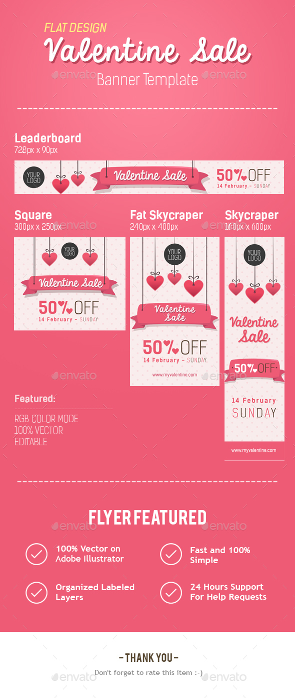 Happy Valentine Banner - Banners & Ads Web Elements