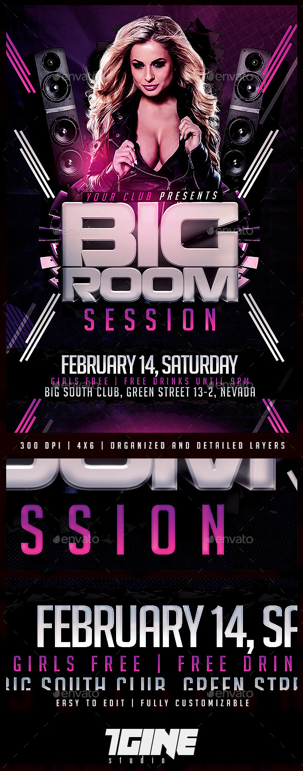 Big Room Session Flyer Template - Clubs & Parties Events