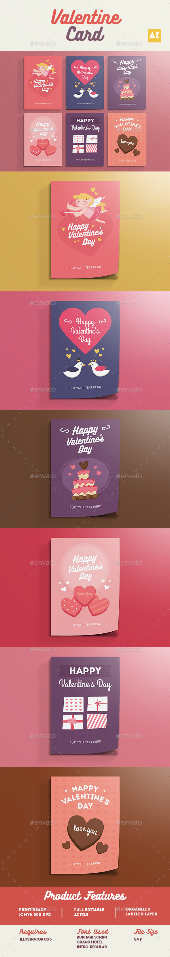 Valentine Card Pack - Greeting Cards Cards & Invites