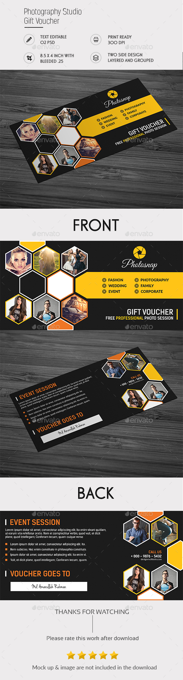 Photography Studio Gift Voucher - Cards & Invites Print Templates
