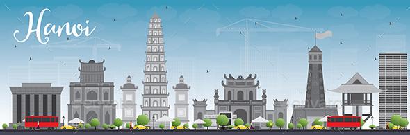 Hanoi Skyline with Gray Landmarks and Blue Sky. - Buildings Objects