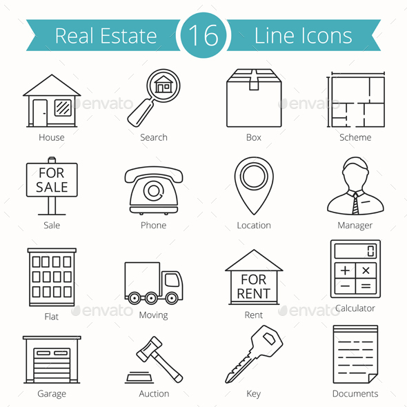 16 Real Estate Line Icons - Objects Icons