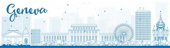 Outline Geneva Skyline with Blue Landmarks. - Buildings Objects