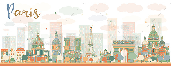 Abstract Paris Skyline with Color Landmarks. - Buildings Objects